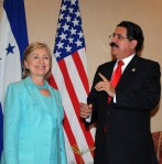 Secy Clinton and Pres. Zelaya at OAS meeting, Honduras, June 2, 2009