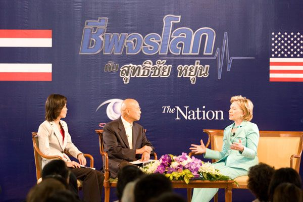 Secretary Clinton being interviewed at Phyathai Palace, July 22nd, 2009 (Photo State Dept)