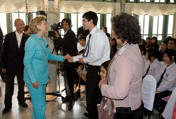 Secretary Clinton speaks with a Thai student after her interview (State Dept. Bangkok Embassy photo)