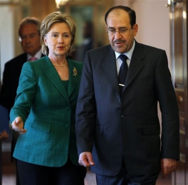 Secretary Clinton and Prime Minister Nouri al-Maliki of Iraq, July 24, 2009 (AP Photo/Pablo Martinez Monsivais)